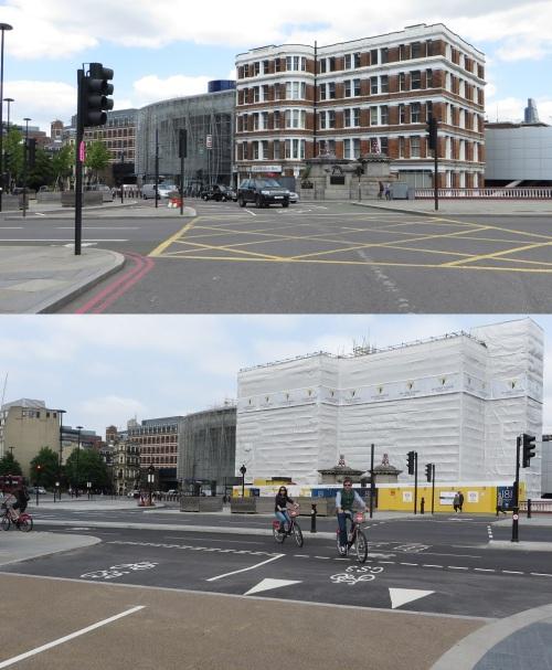 27 Blackfriars, London, vor und nach der Installation des Radwegs